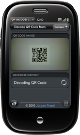Palm Pre with QR deCODEr
